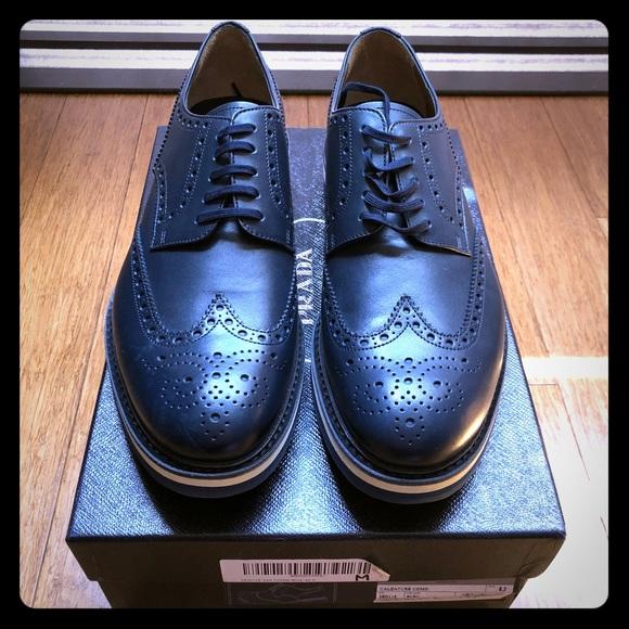 Prada Navy Blue Leather Oxford Wingtips